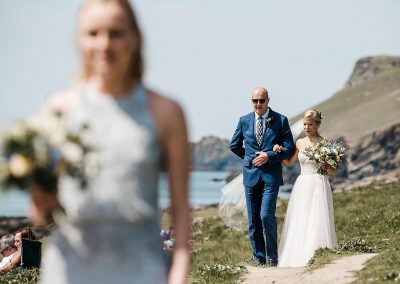 Bridal party at Polzeath