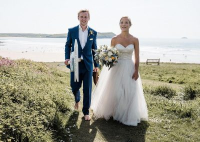 Bride and groom at New Polzeath