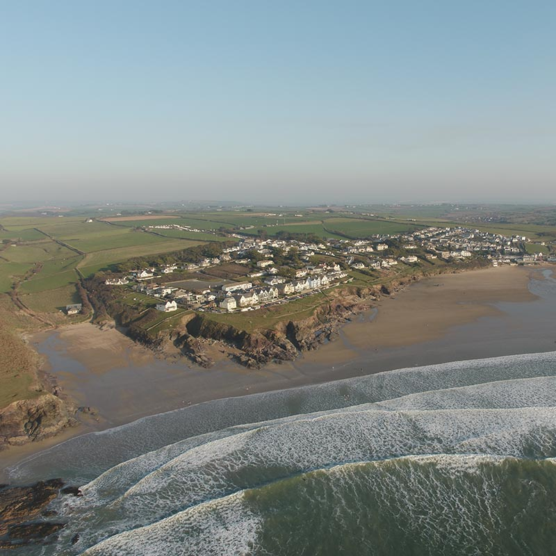 Polzeath beach image taken from a drone